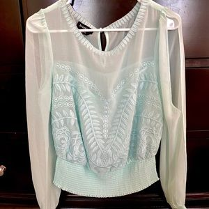 Bebe Cinched waist blouse